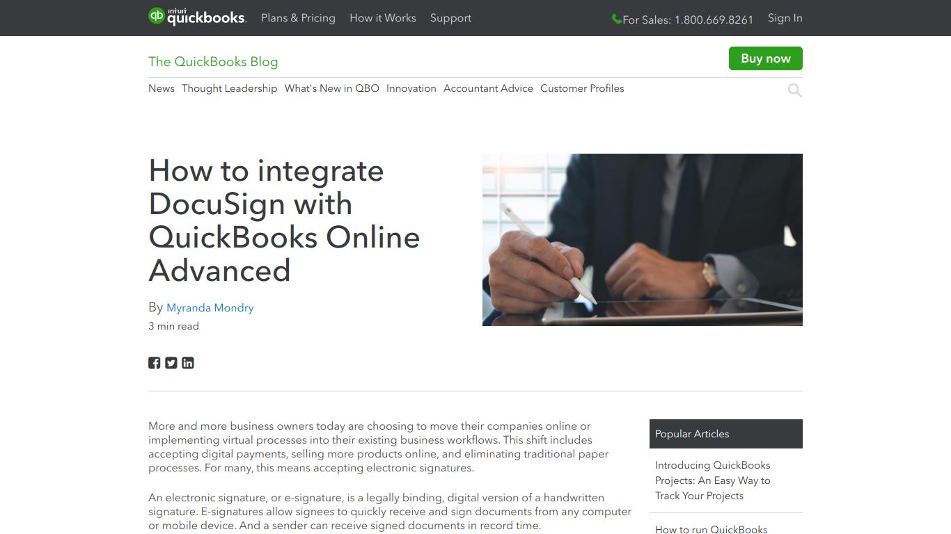 QuickBooks DocuSign Connector