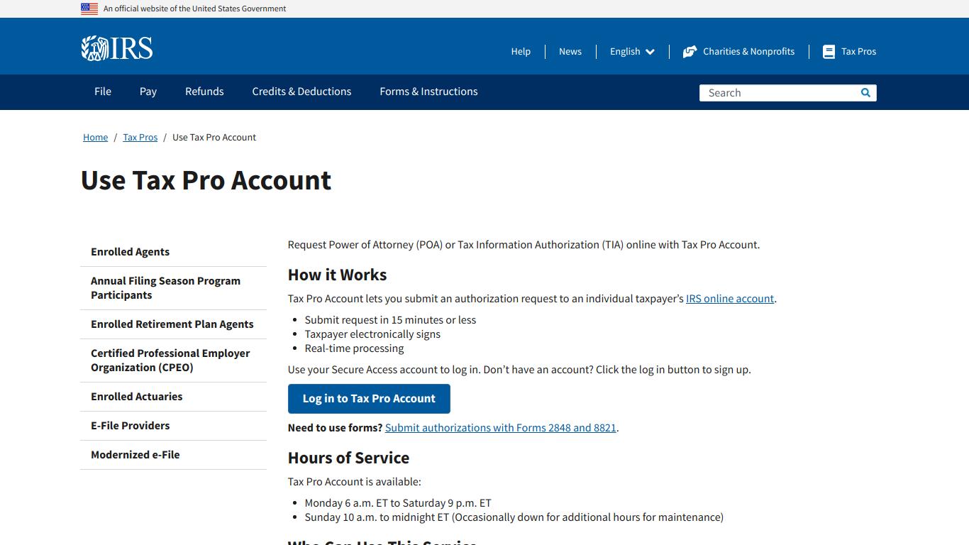 IRS Tax Pro Account