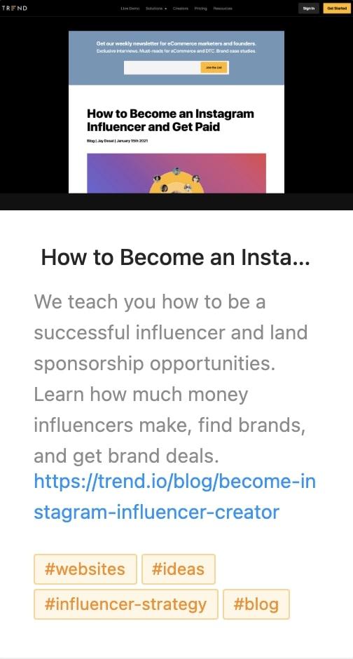 Trend Blog Website Save