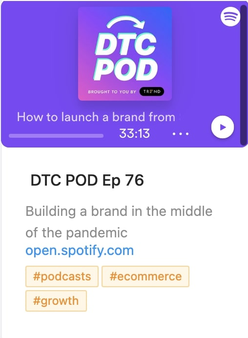 DTC POD podcast save in dashboard