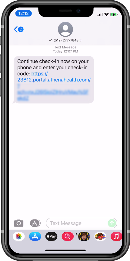 Text message with link to self check-in