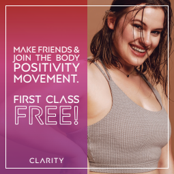 Text says: Make friends & join the body positivity movement. First class free! To the right, a woman is smiling after a workout.