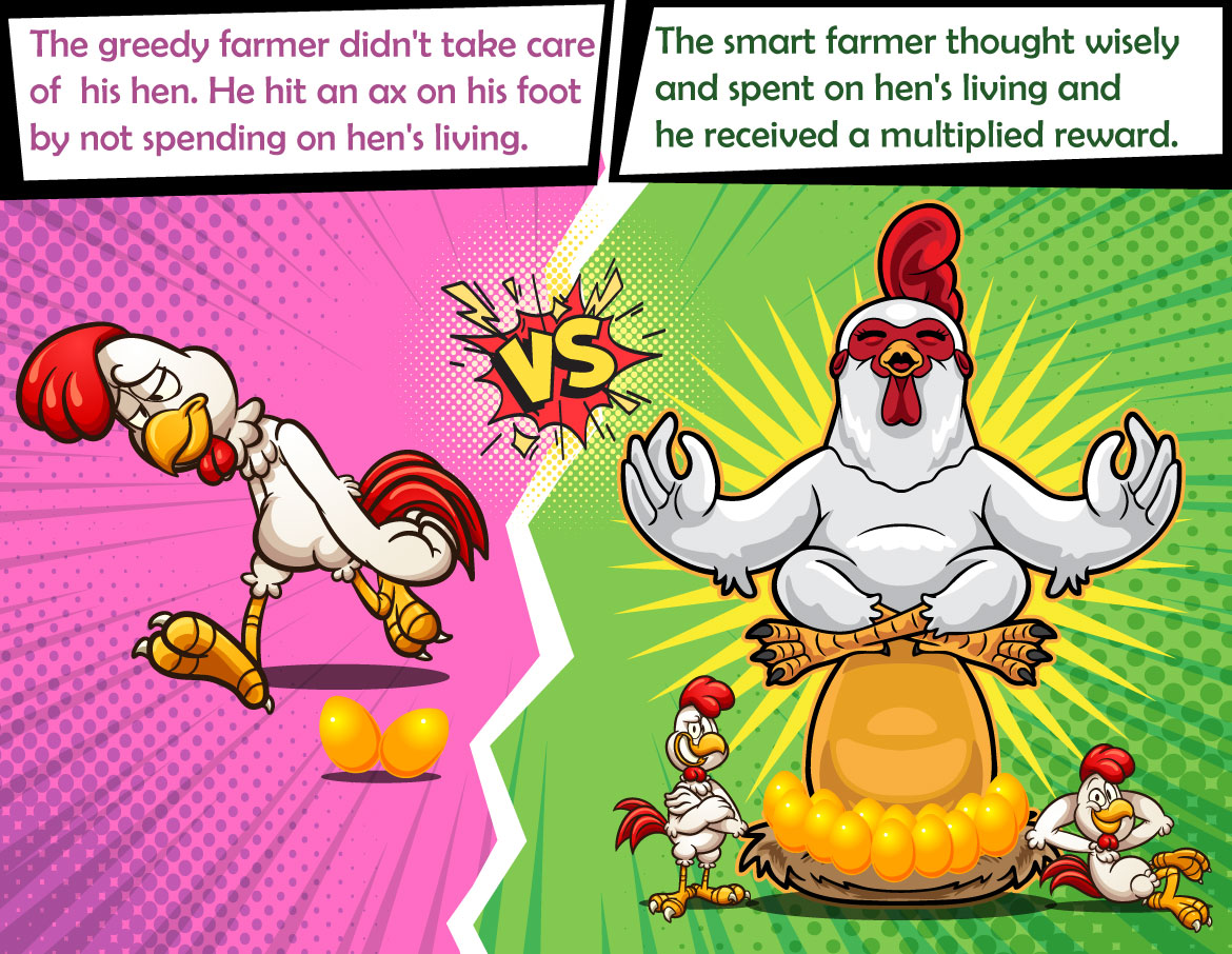 gold hatching chicken or hen story, story of greedy farmer, story of smart farmer