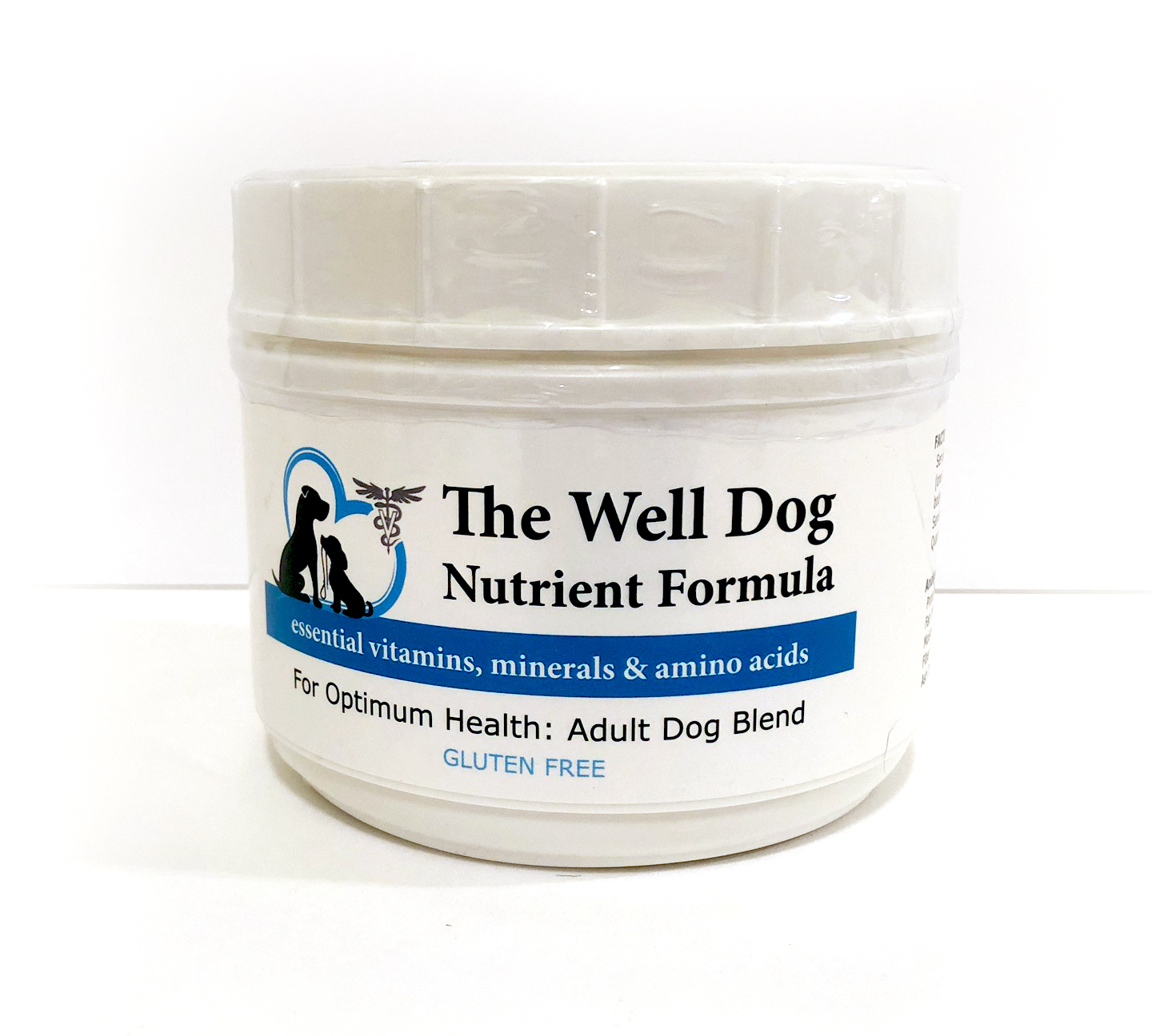 "Product image shows a jar of ""The Well Dog Nutrient Powder."" Label shows logo with 2 dogs in a heart."