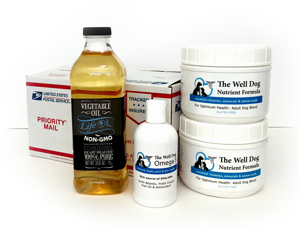 Product image shows a complete Starter Kit with a group image of a bottle of The Well Dog Omega-3 Oil, two jars of The Well Dog Nutrient Powder, and a bottle of LifeOil soybean oil.