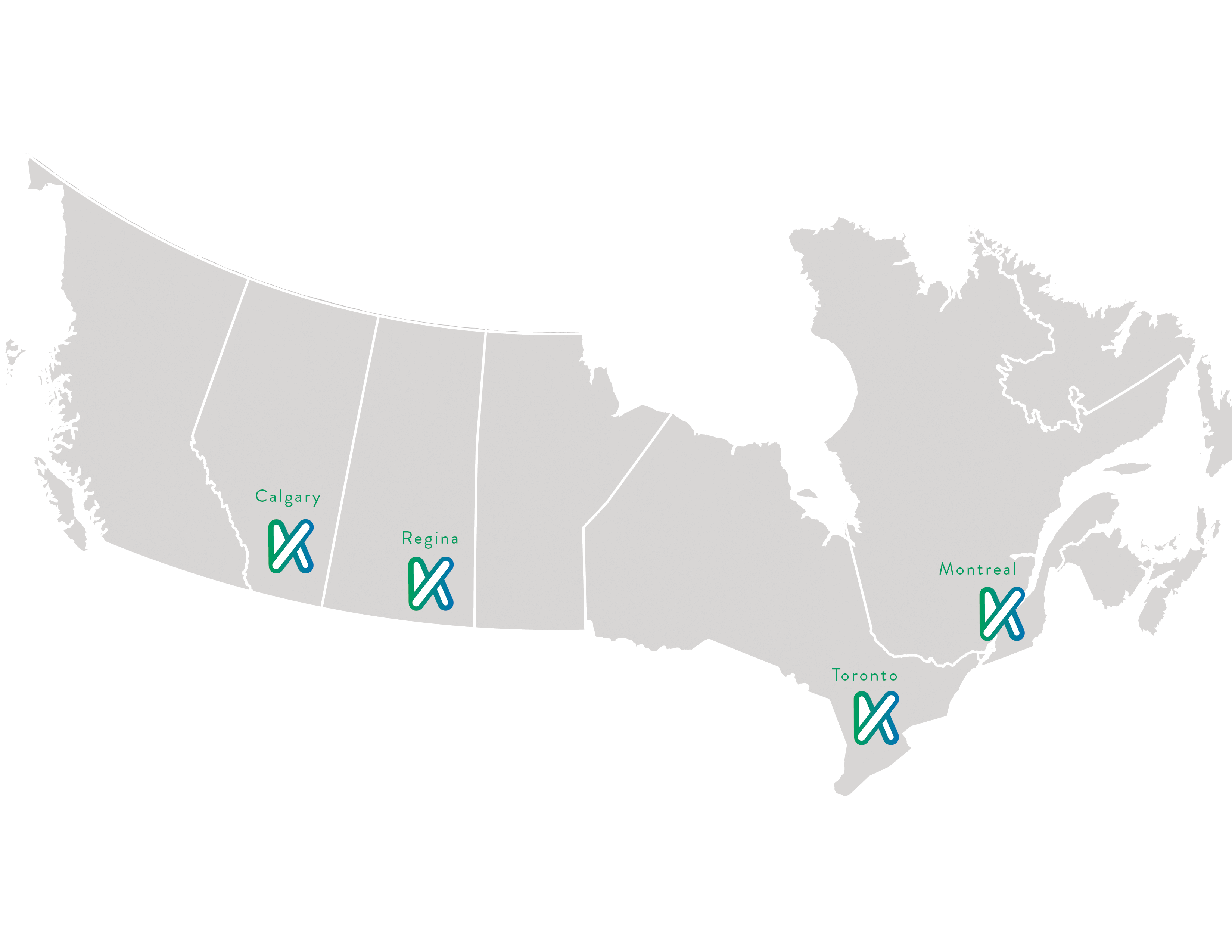 Map of the Kankei team location across Canada