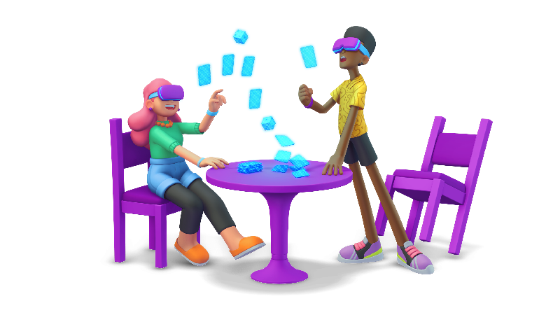 Two players playing an AR board game.