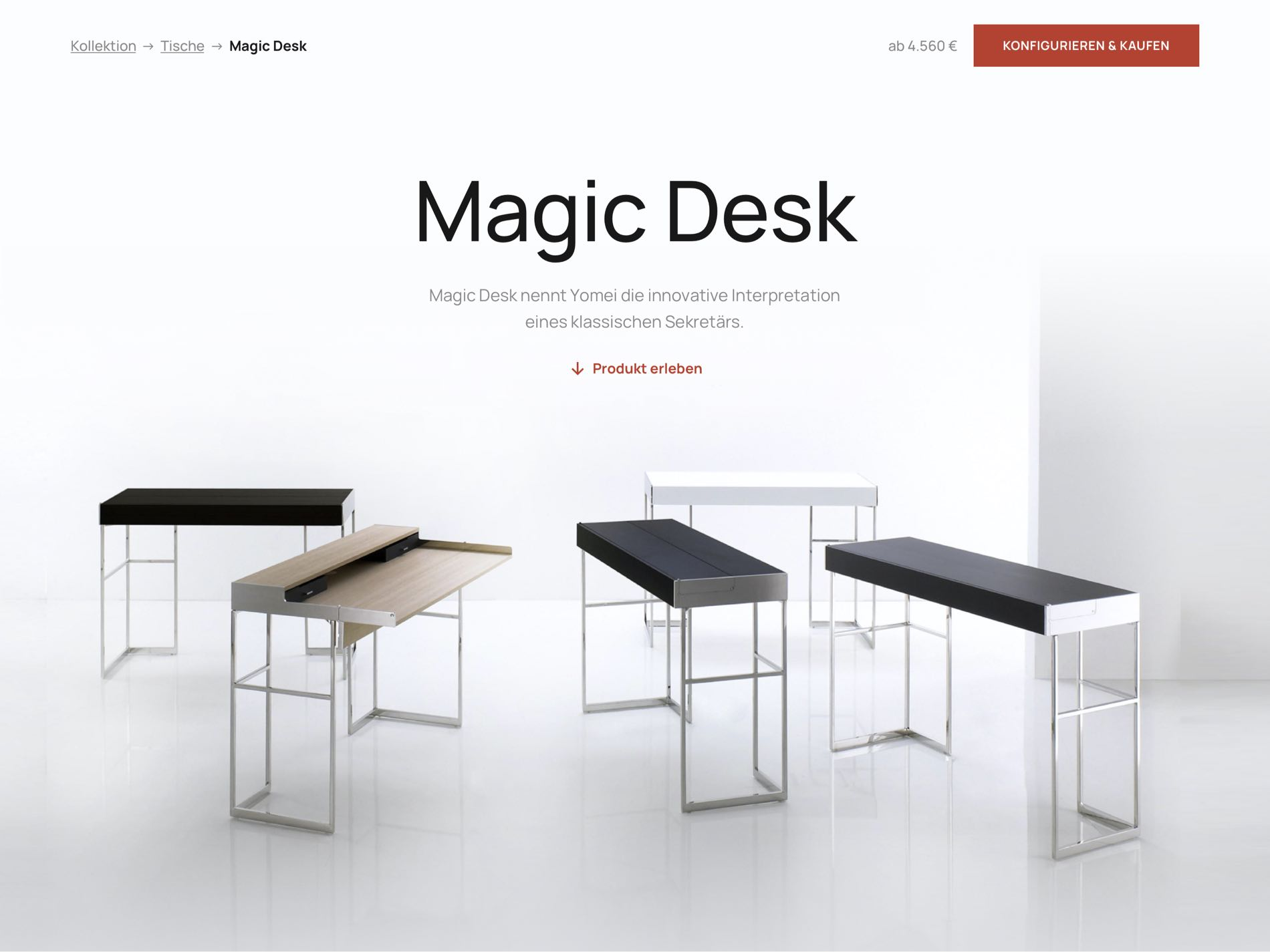 Yomei Magic Desk Website Layout Screenshot