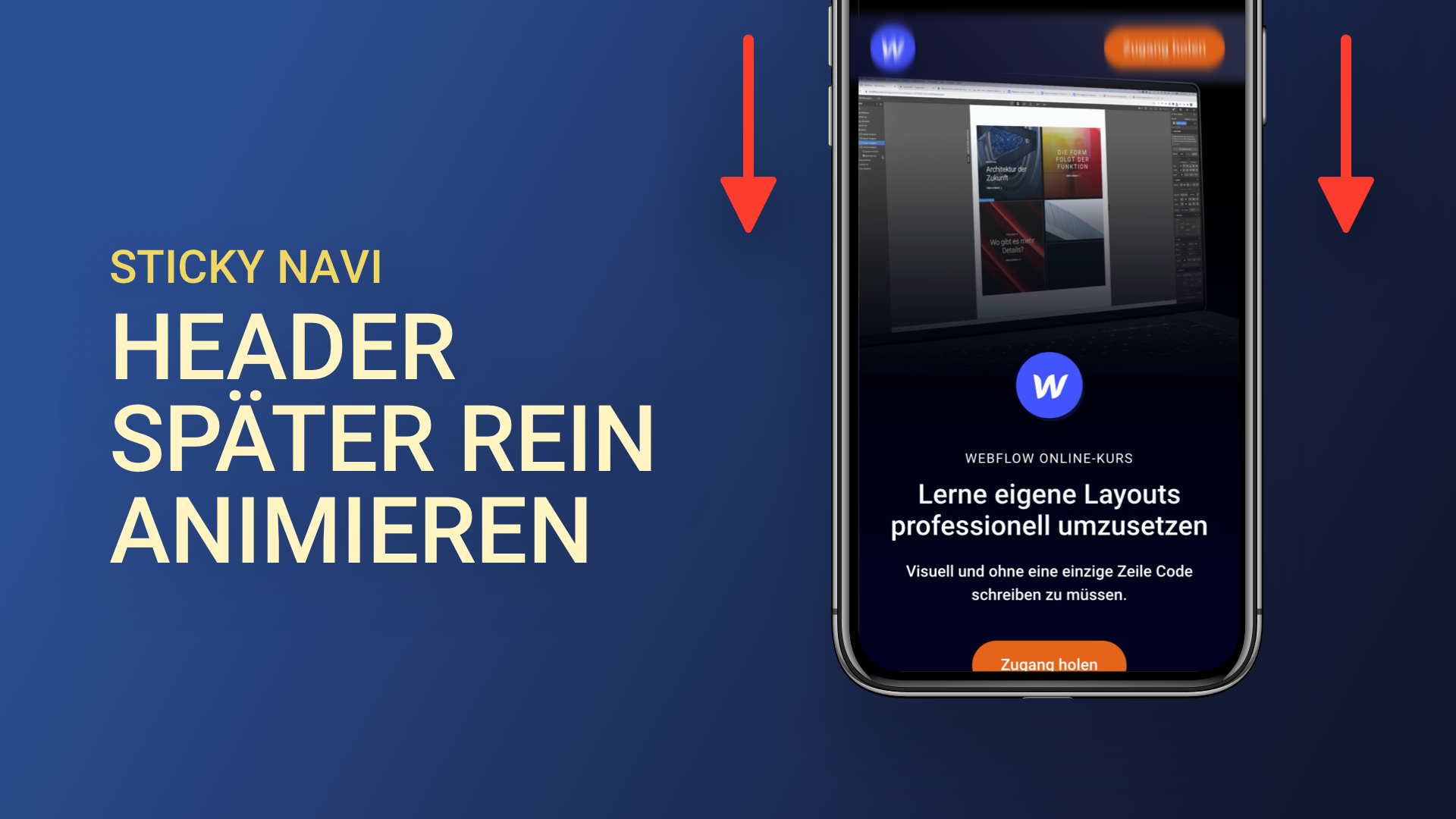 Header in Webflow später rein animieren