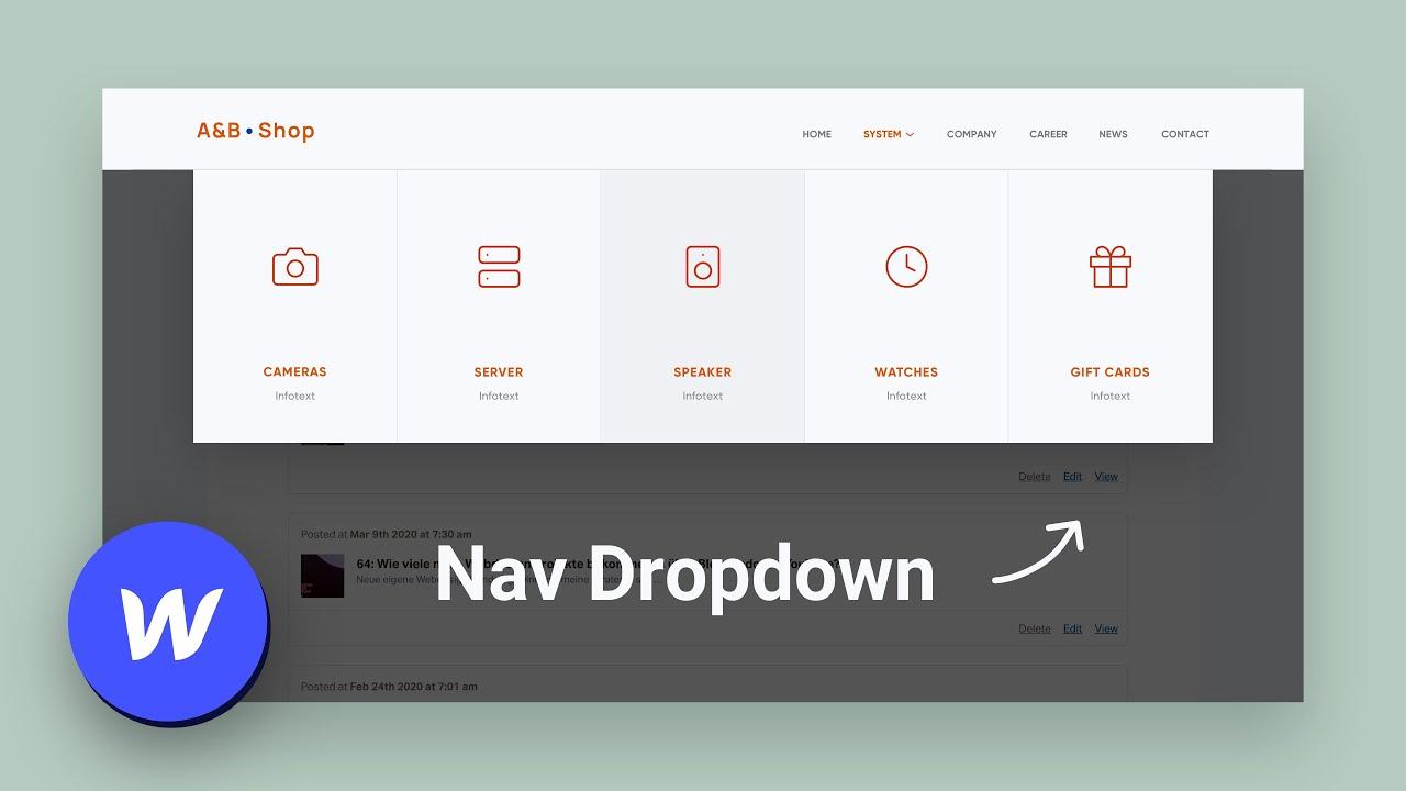 Ein Mega Menü in Webflow erstellen – Dropdown Navigation