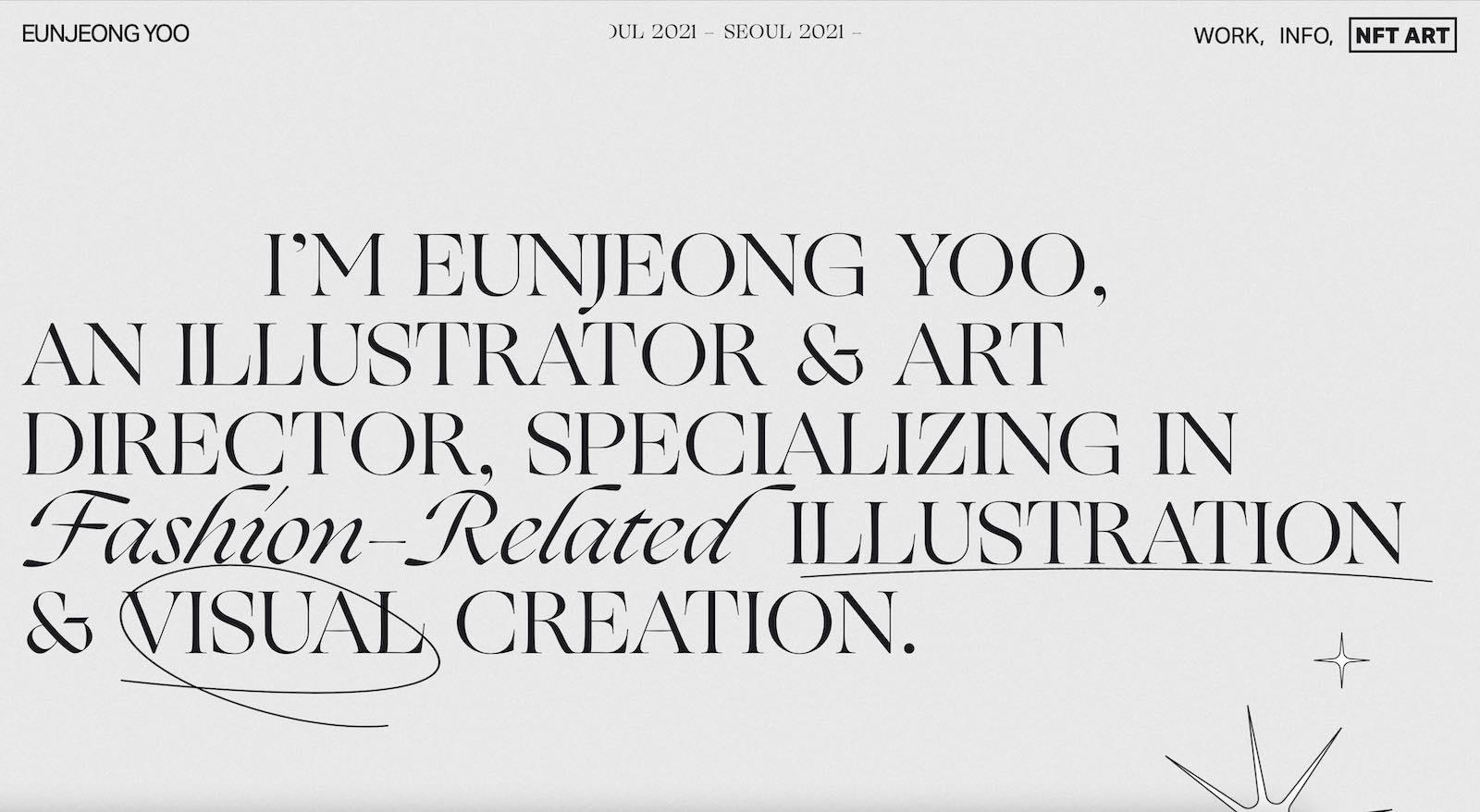 Eun Jeong Yoo Portfolio Website Layout