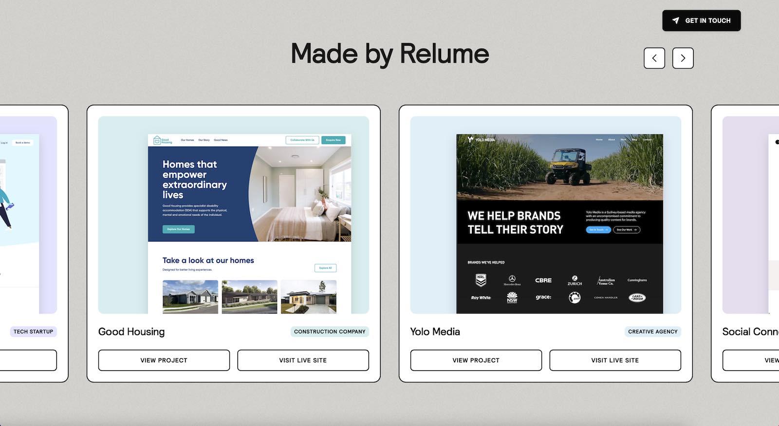 Relume Portfolio Website Layout