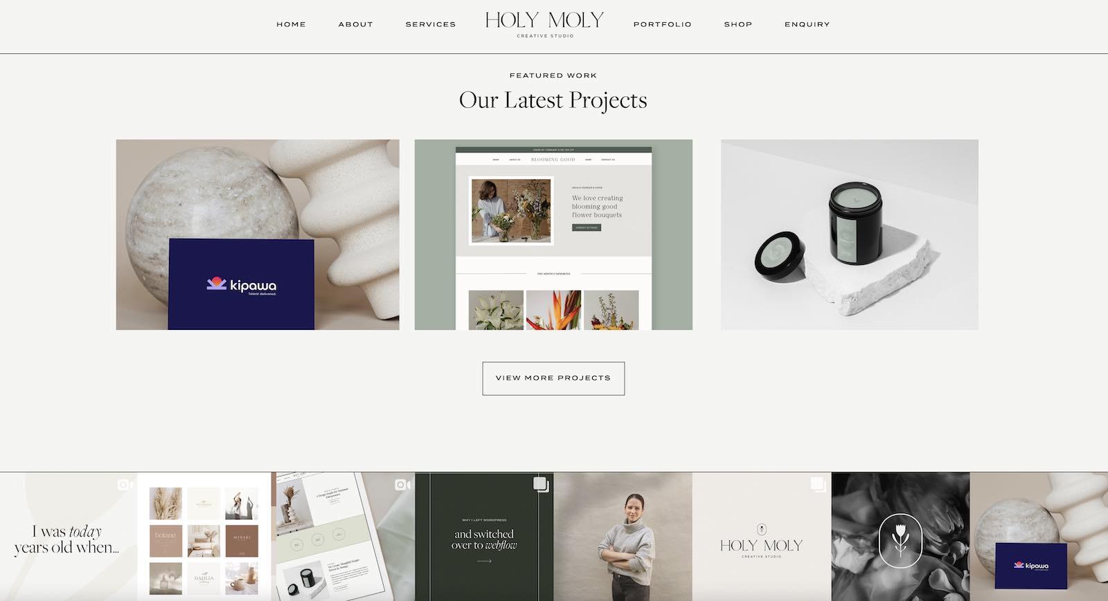 Holy Moly Creative Studio Portfolio Website Layout
