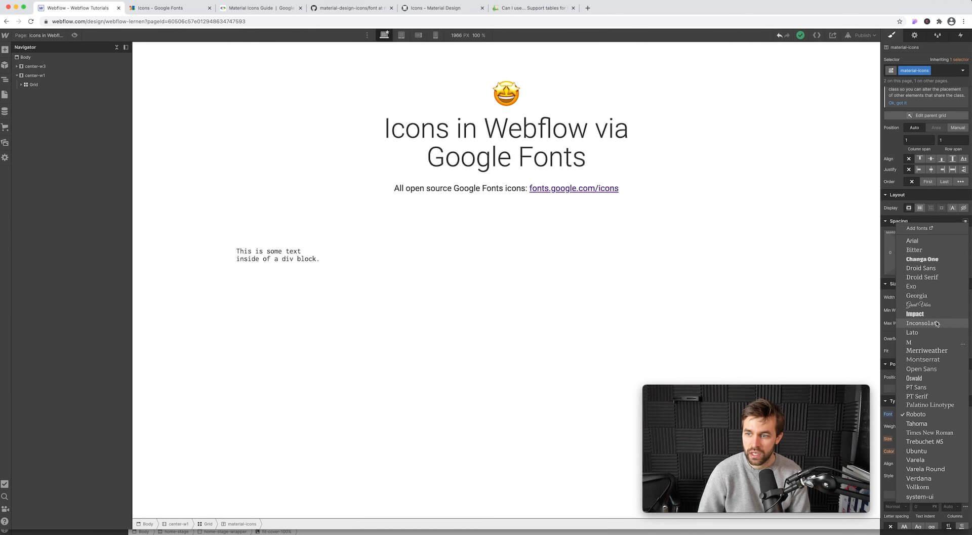 Google Icon Font im Webflow Designer auswählen