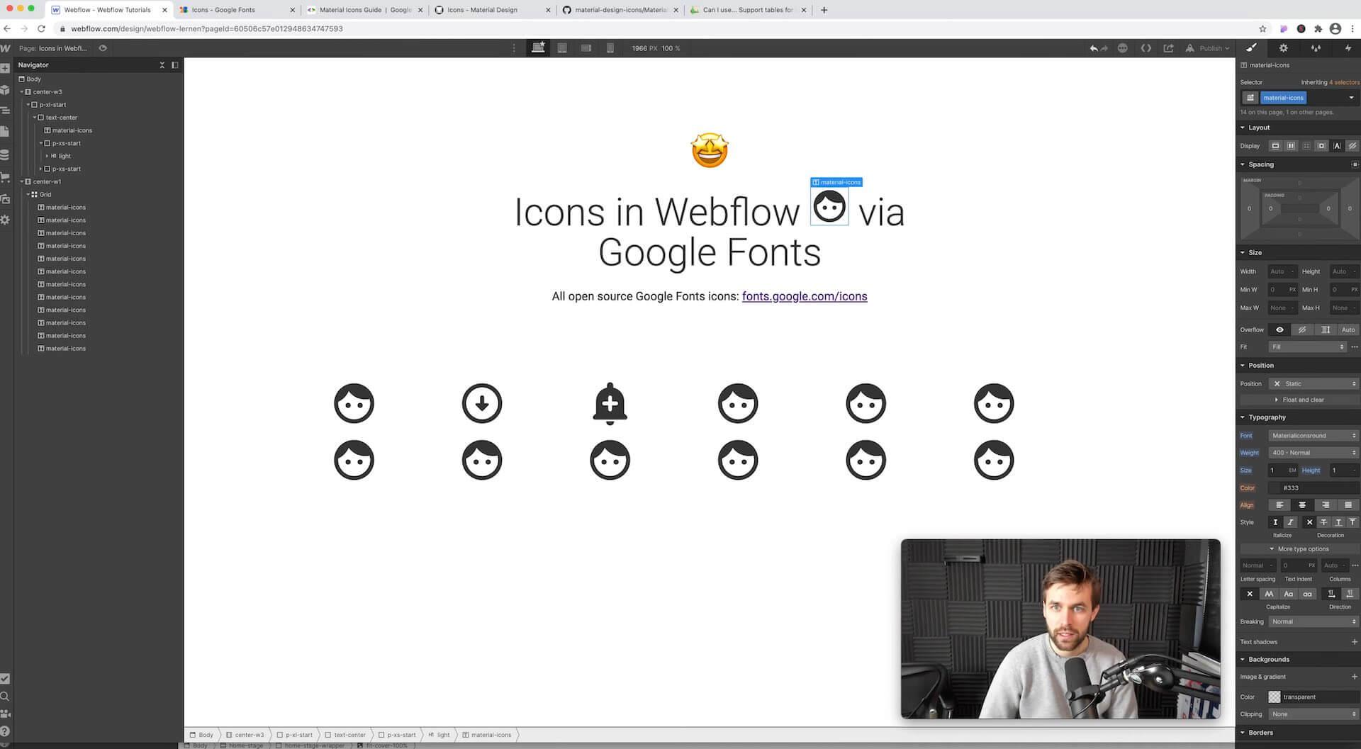 Google Font Icons können in jedem Textfeld und Headline eingesetzt werden