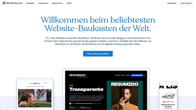 Wordpress.com Startseite