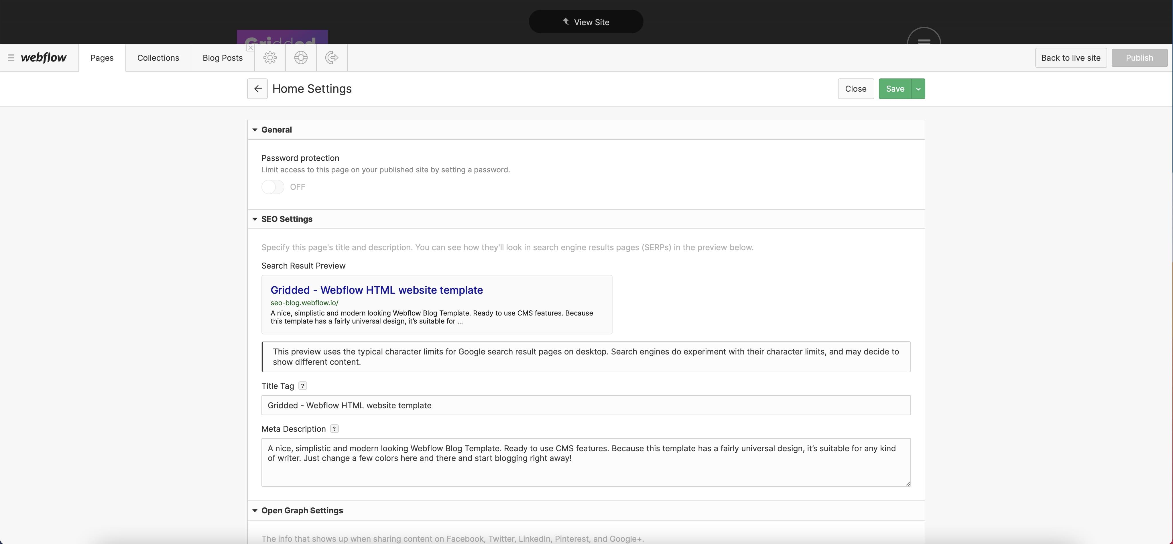 SEO Beschreibungen über den Webflow Editor ändern
