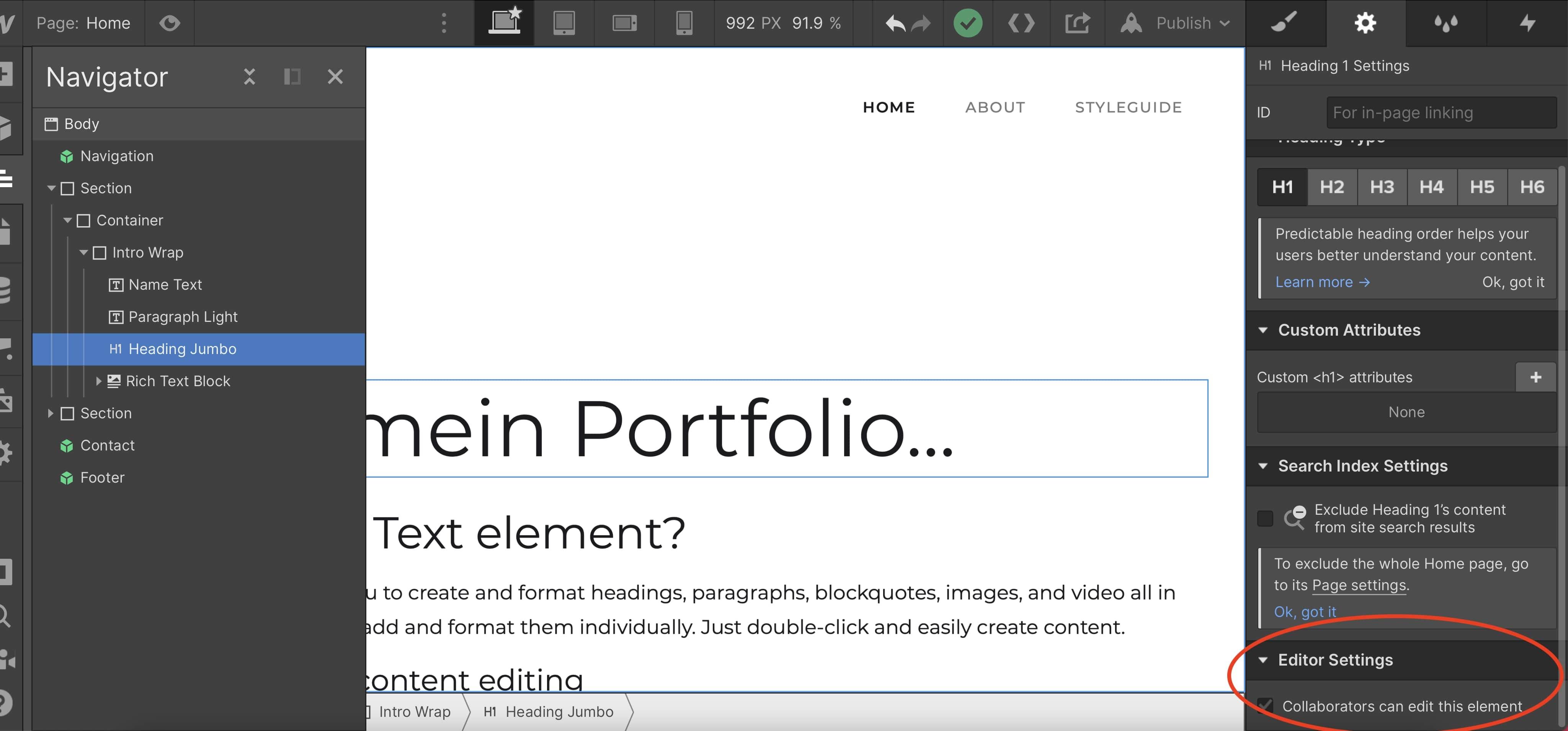 Festlegen, welche Elemente der Kunden im Webflow Editor nicht bearbeiten darf