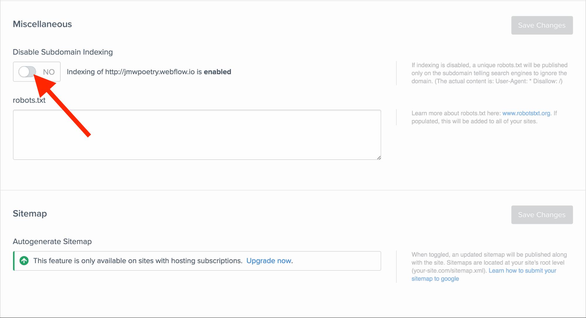 Die Indizierung deiner webflow.io-Subdomain deaktivieren