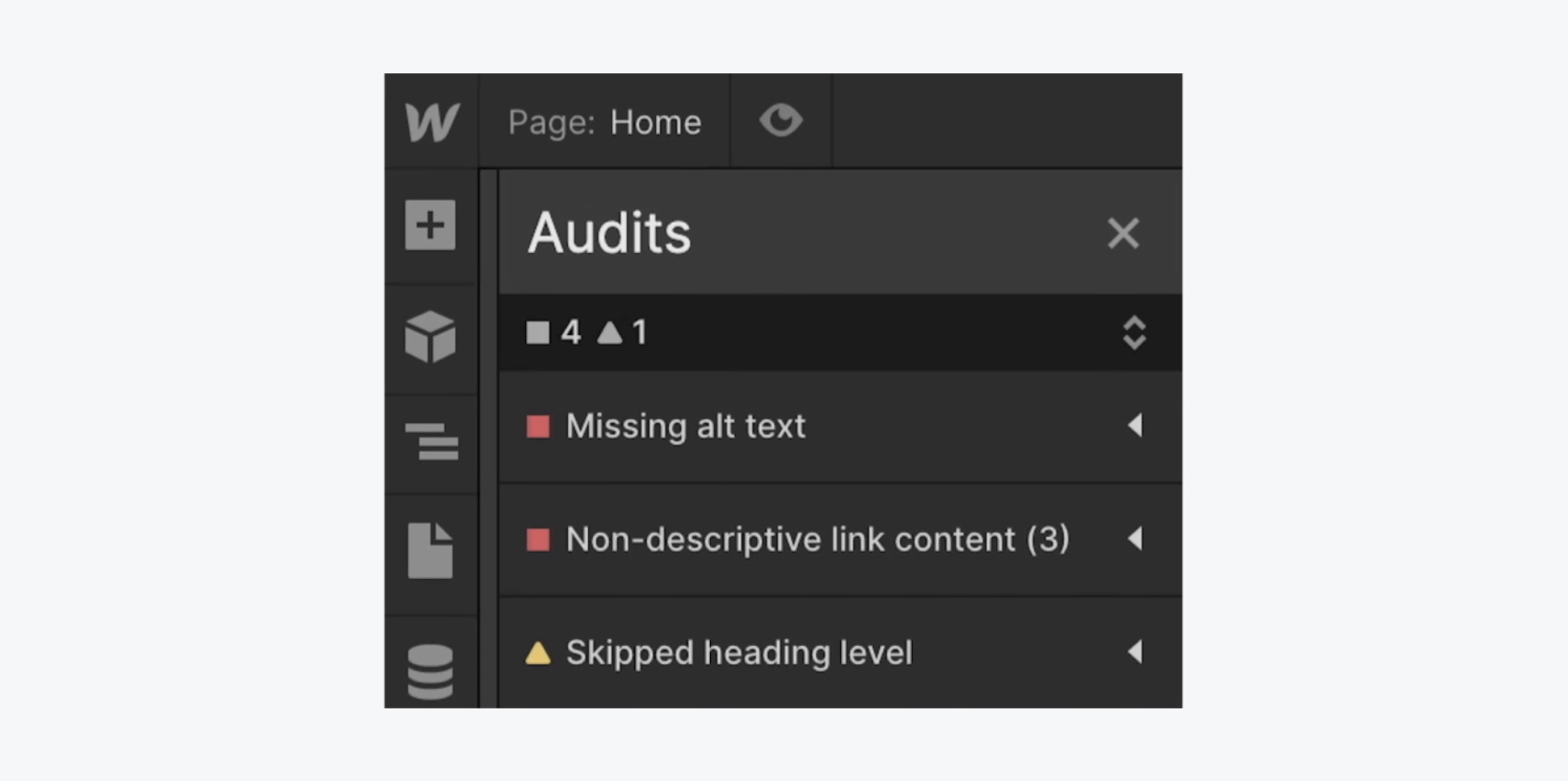 Webflow Audits Panel hilft bei SEO
