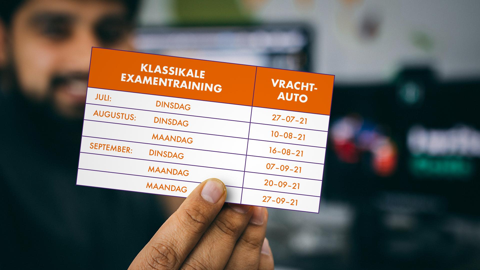 Startdata klassikale examentraining vrachtauto rijbewijs Verboon wegwijze opleiders Oosterhout