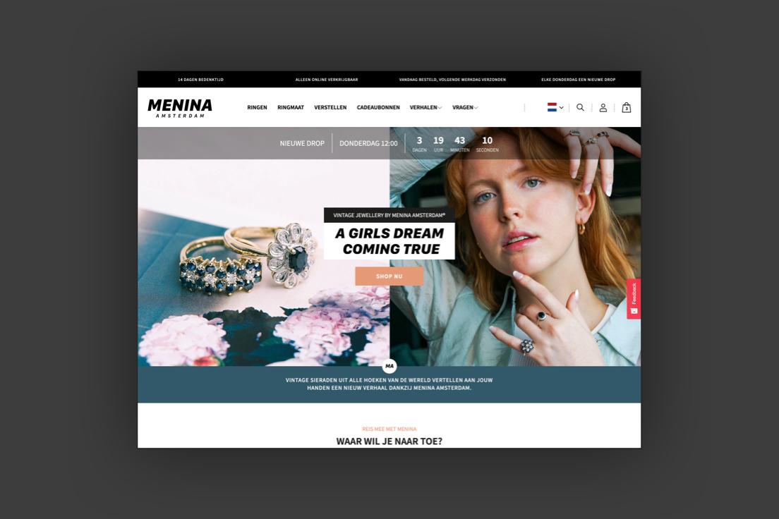 Redesign voor Menina Amsterdam. Technische uitdagingen oplossen om wekelijkse drops te vereenvoudigen.
