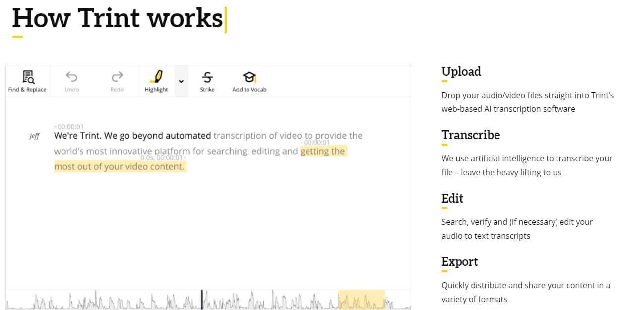 Trint  transcription software