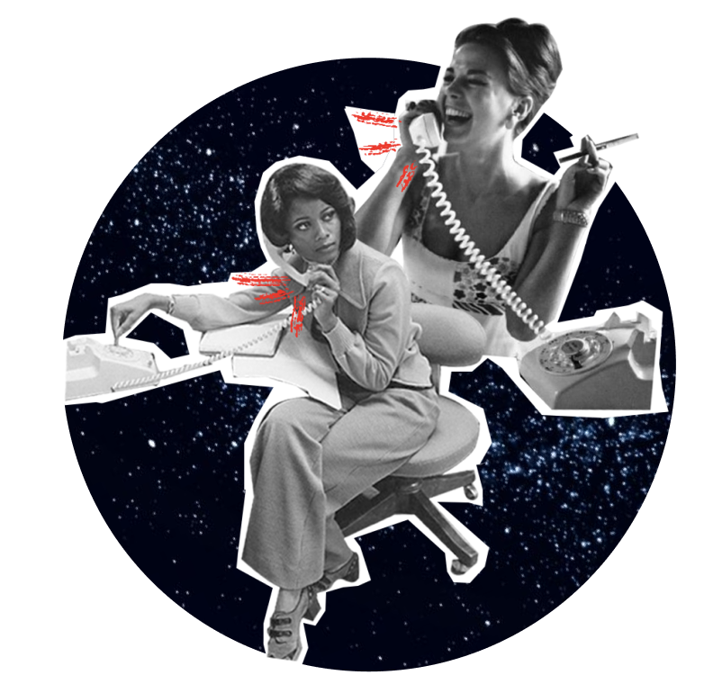 Two women from the 60s holding telephone. The background is a starry night.
