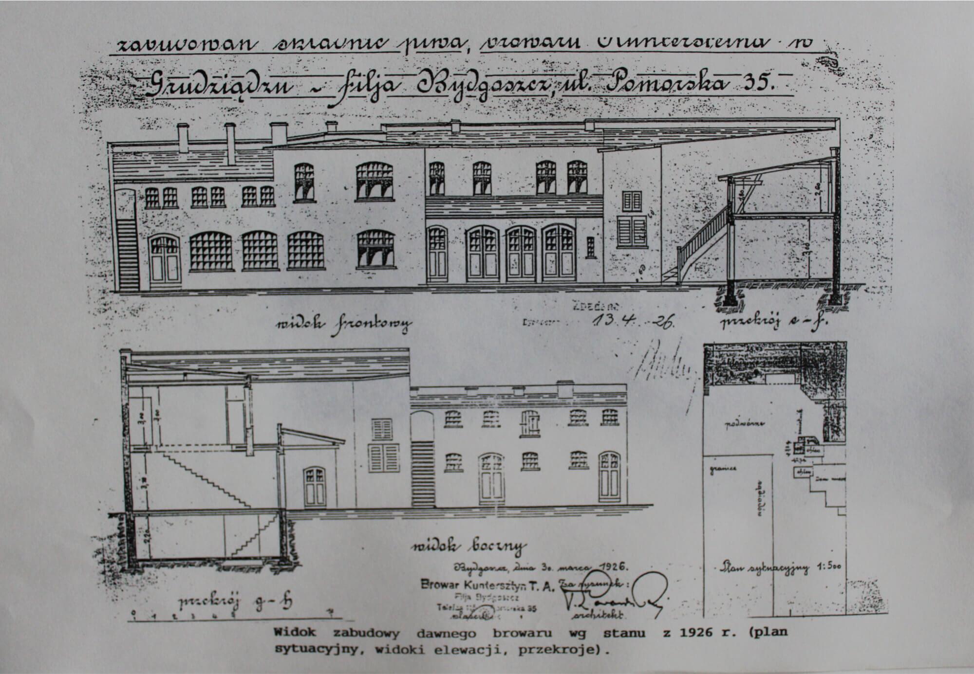 Widok zabudowy dawnego browaru w 1926