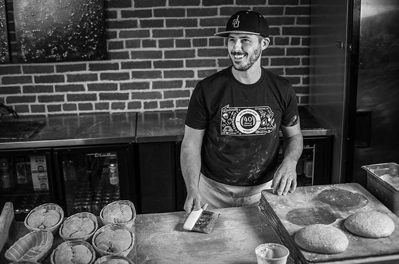Photo of Neil Blazin making sourdough bread