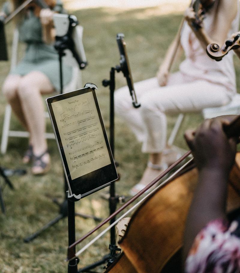 Auftritt des Streicherquartetts auf Trauung im Freien