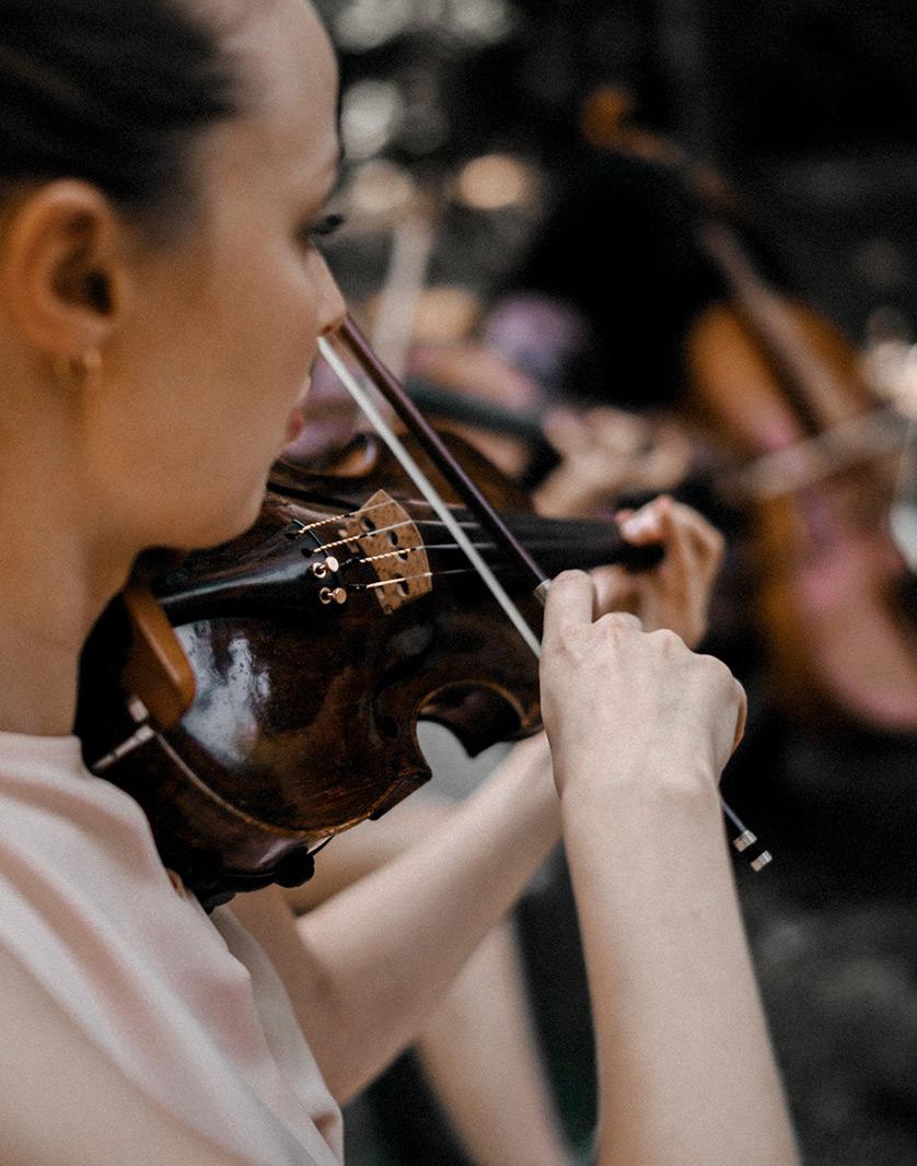 Detailaufnahme Violine während eines Streicherensembles