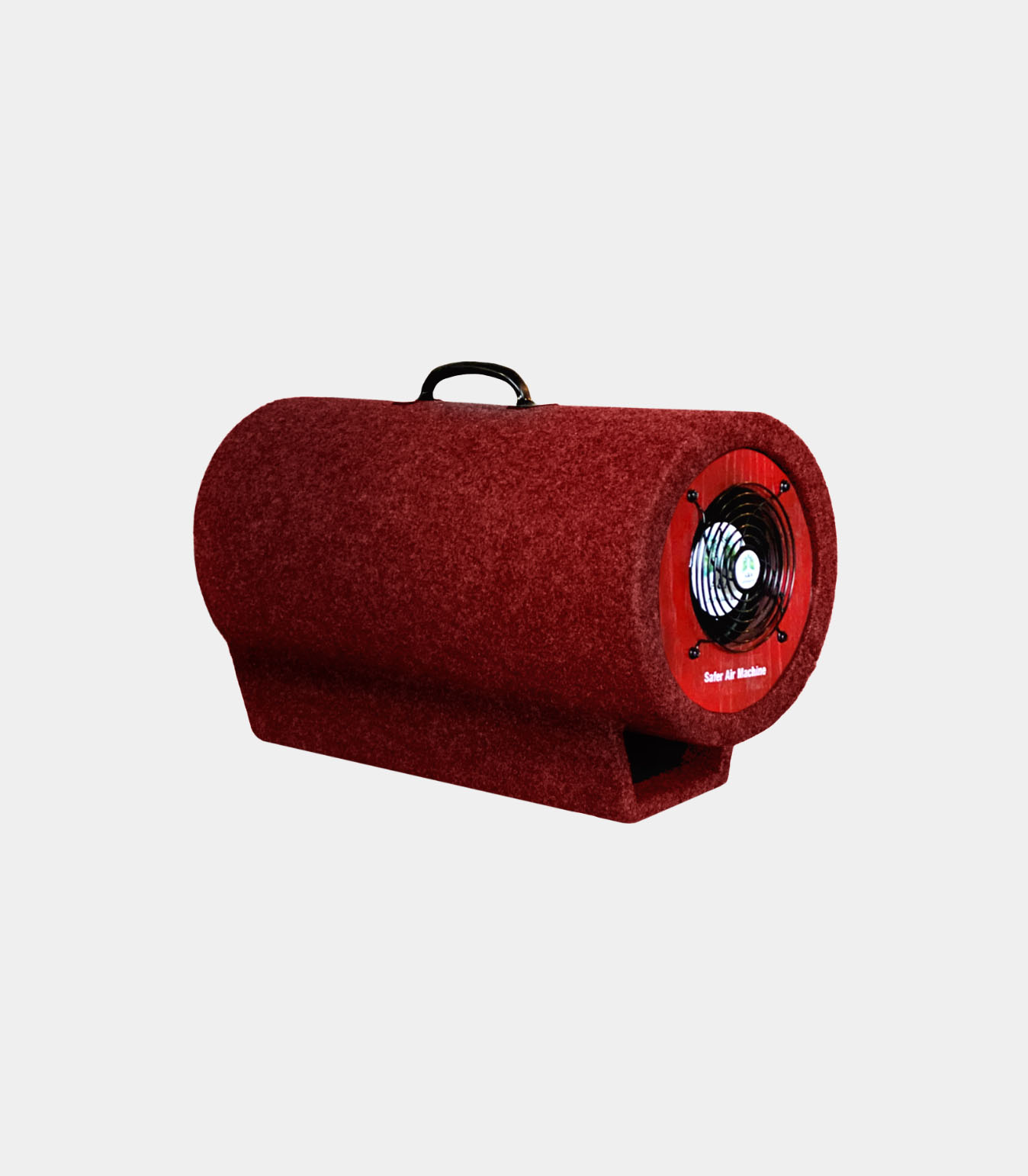 Red Portable Safer Air Machine on light gray background.