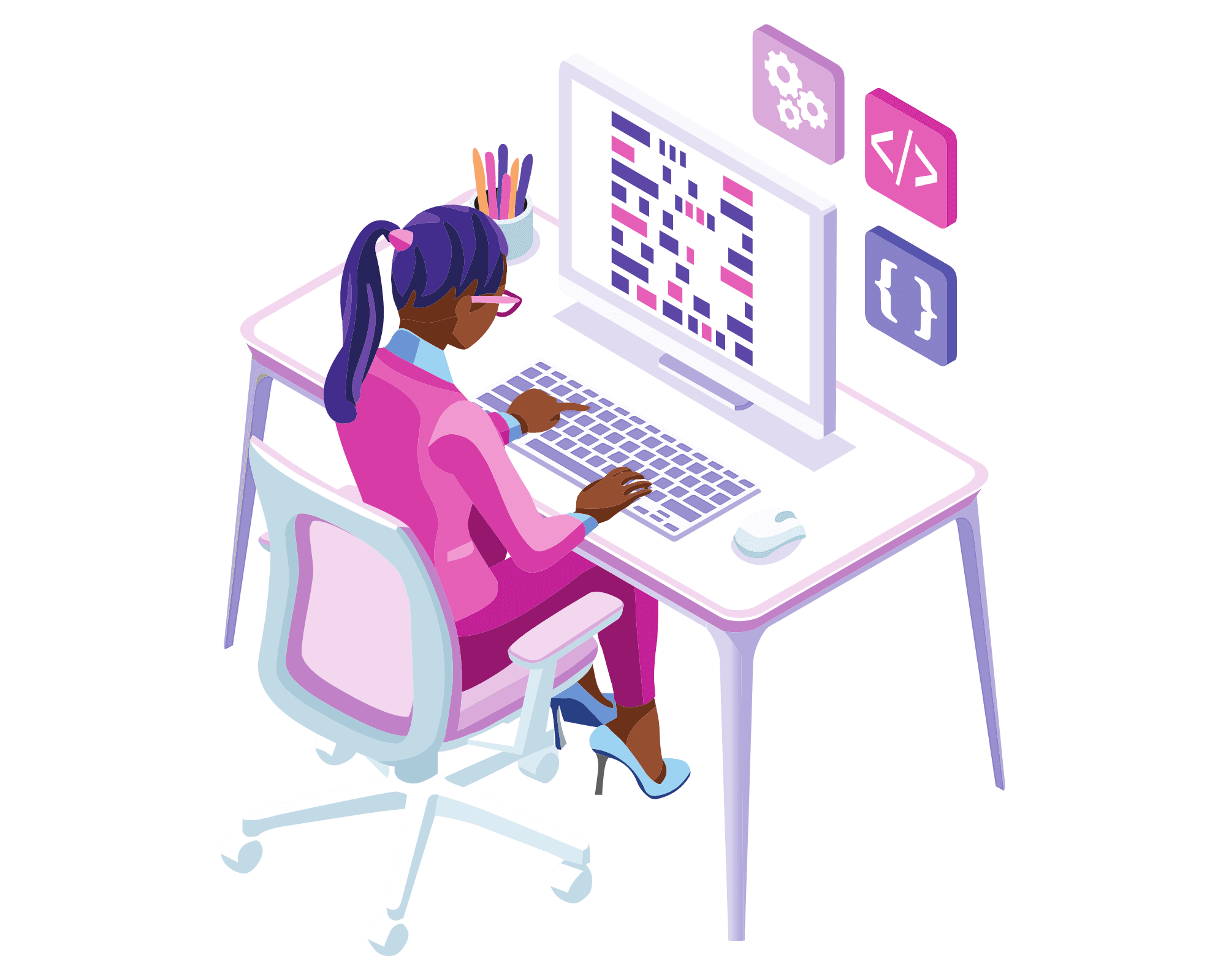 Woman working on laptop layout