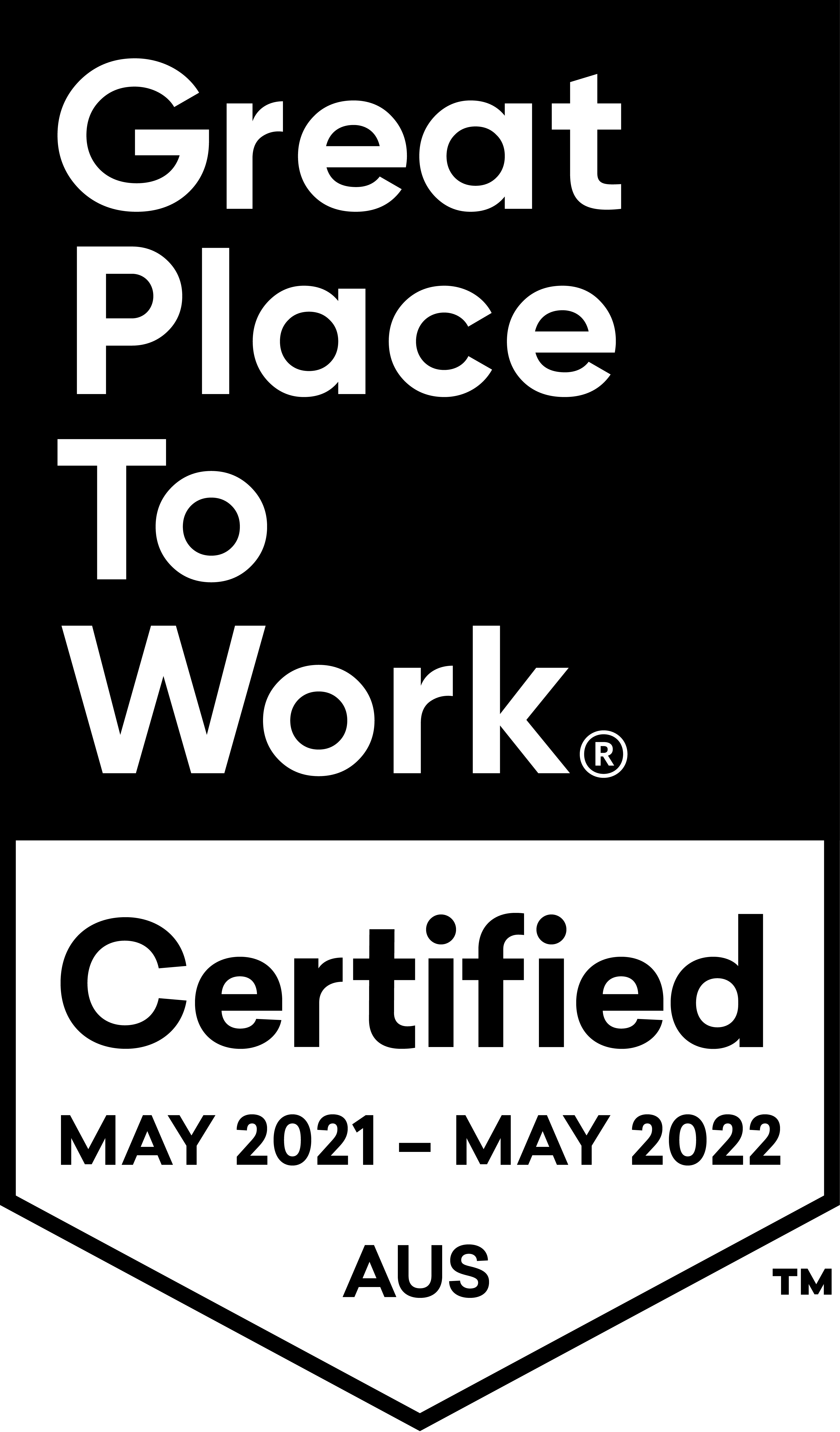 A badge displaying 'Great Place to Work. Certified May 2021 - May 2022'.