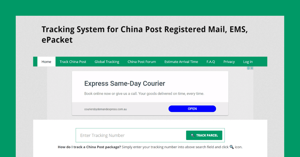 Track China Post website homepage
