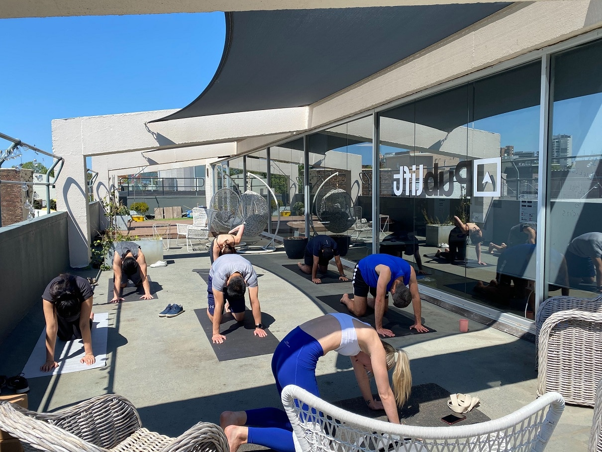 Yoga Fridays on the balcony at Publift