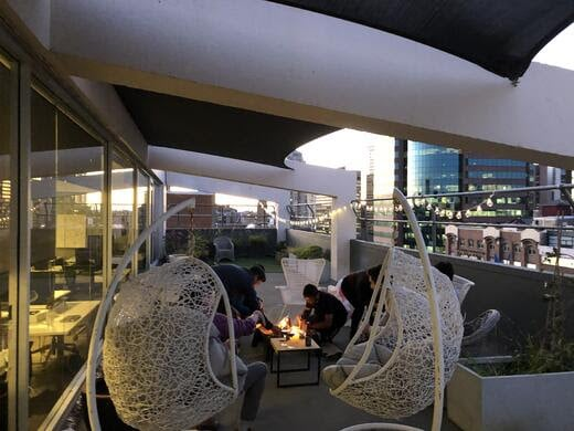 Bonfire and S'mores on the Publift office balcony