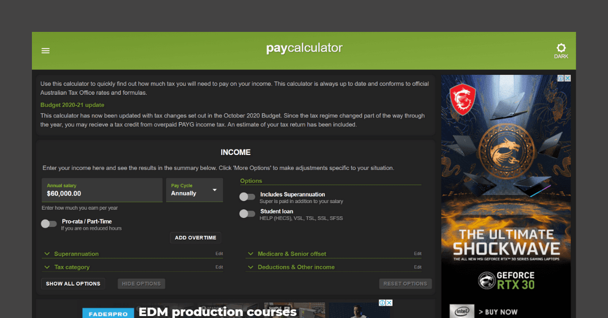 Paycalculator website homepage