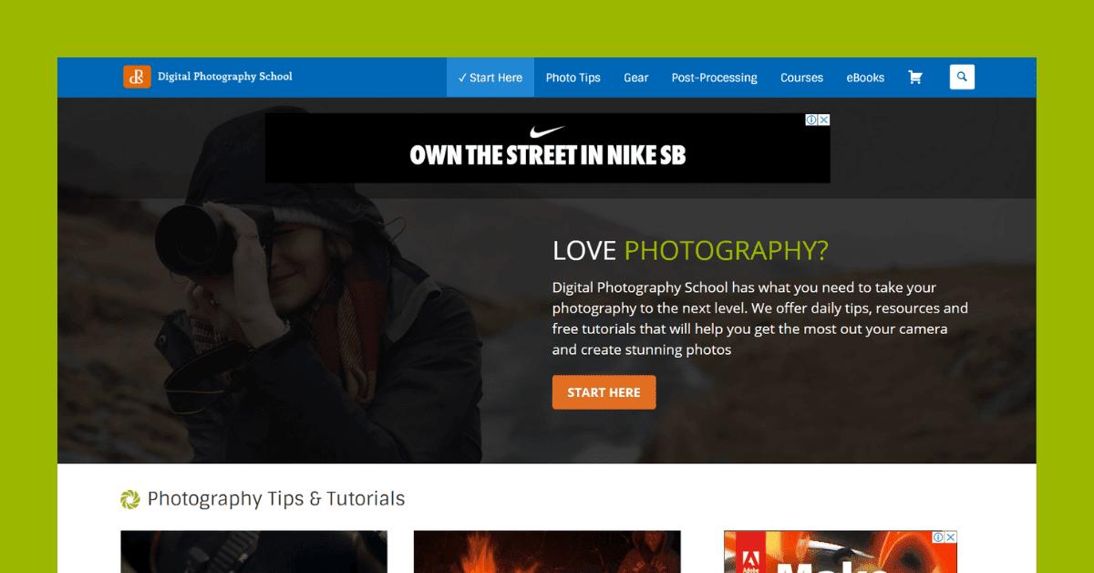 Digital Photograph School website homepage