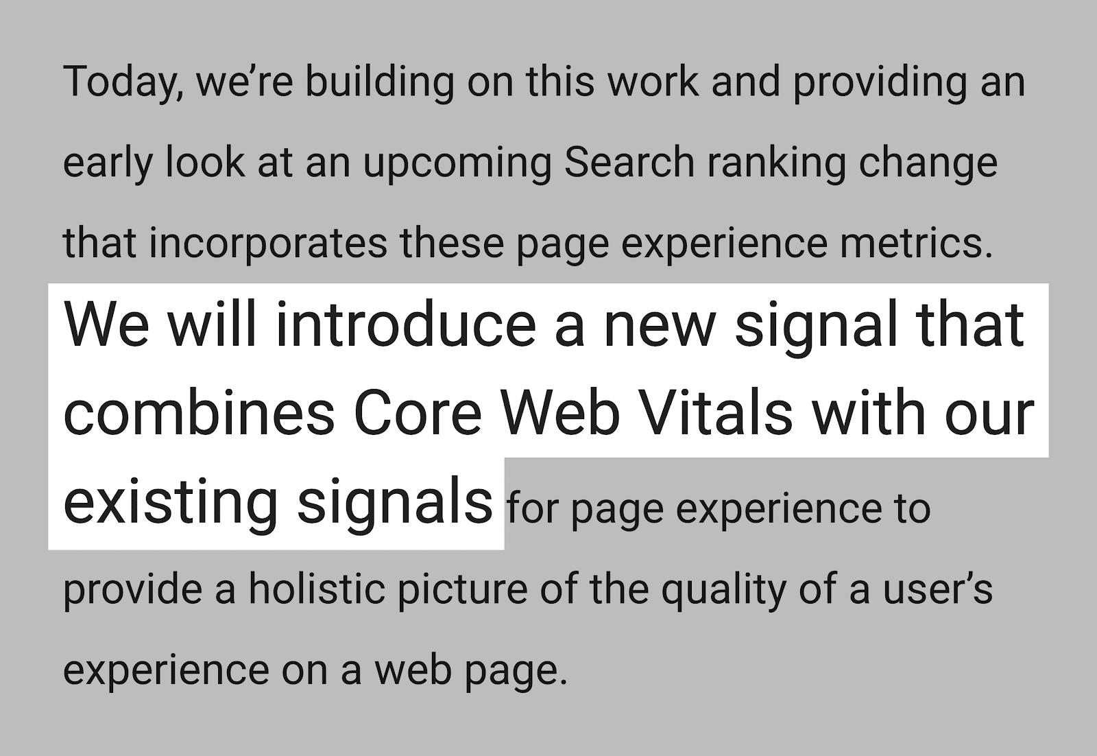 Google Core Web Vitals announcement