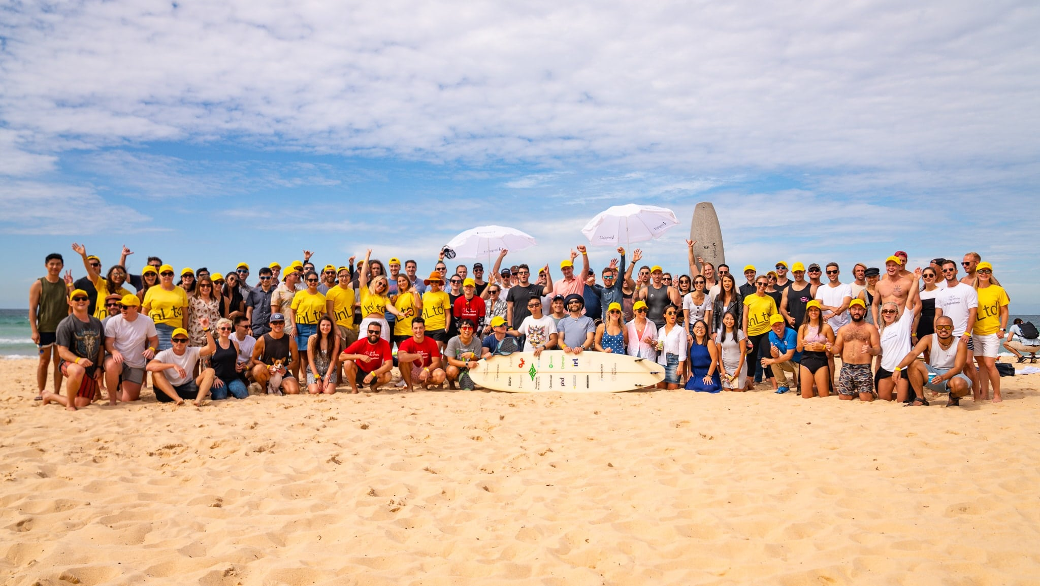 Group photo at The Big Kahuna surf charity event with UnLtd