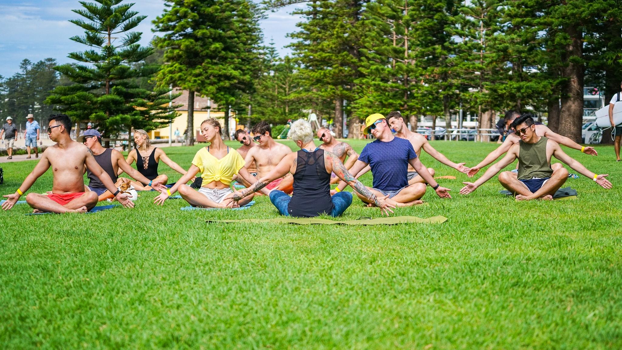 Yoga at The Big Kahuna surf charity event with UnLtd
