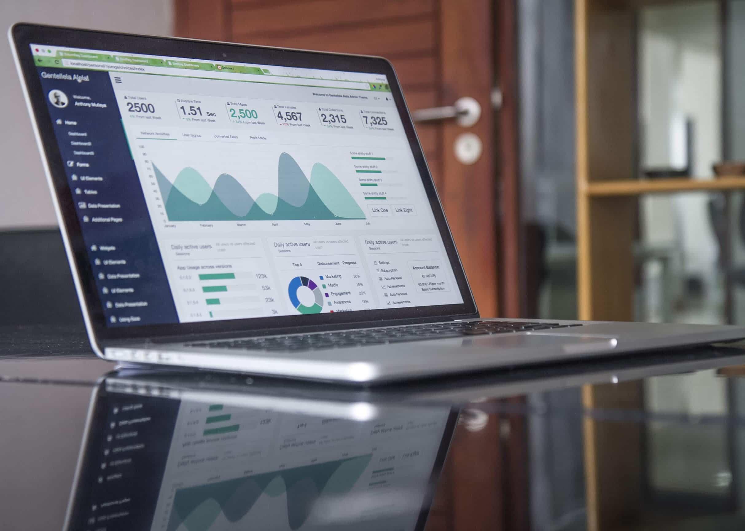 Laptop screen showing data report