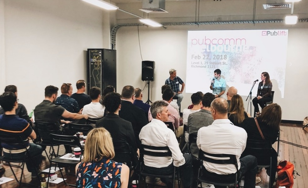 Publift CEO Colm speaks at the PubComm event in Melbourne
