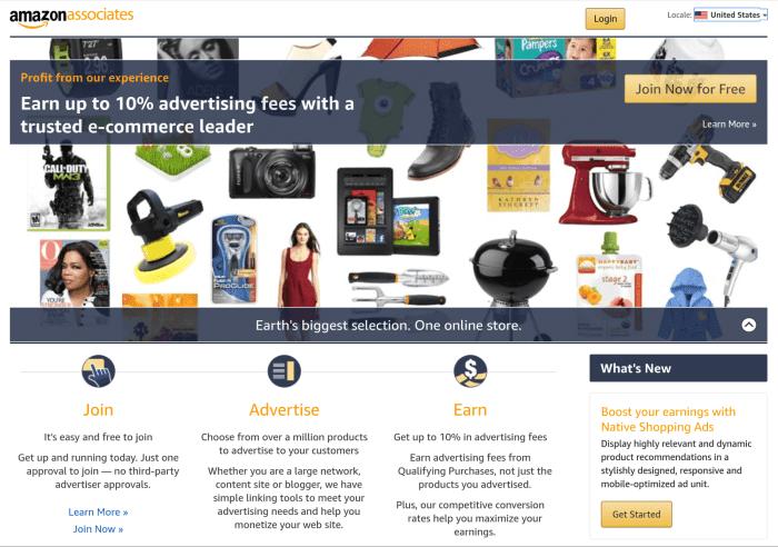 Amazon Associates Login Page