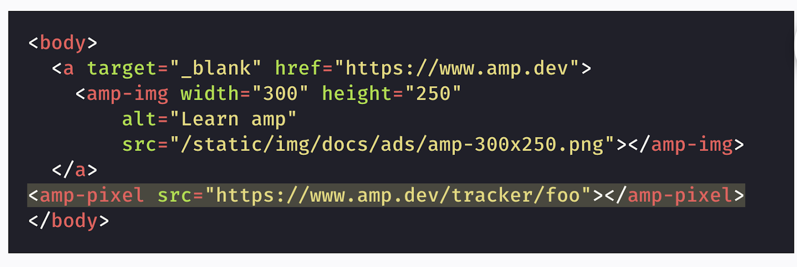 A simple AMPHTML ad tag code