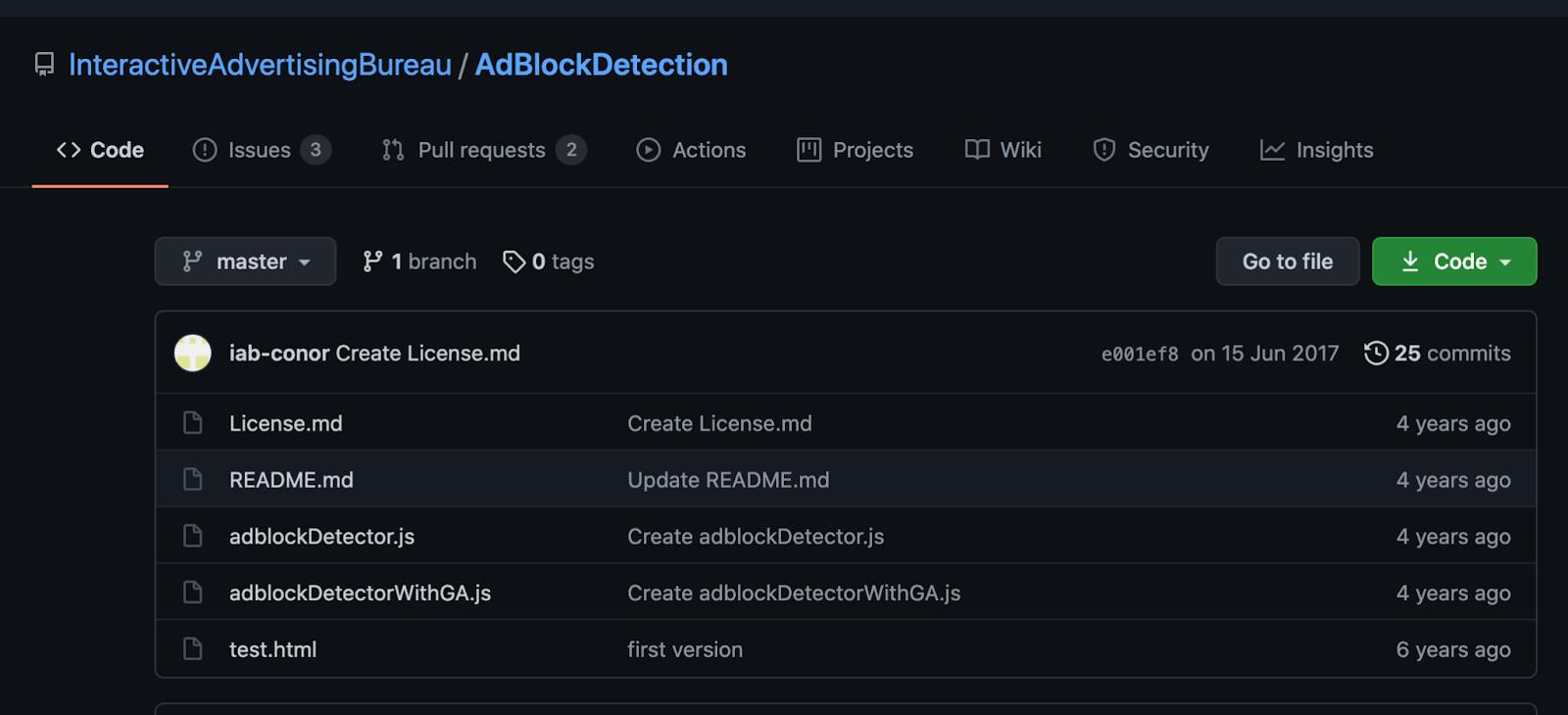 lnteractive Advertising Bureau AdBlock Detection GitHub page