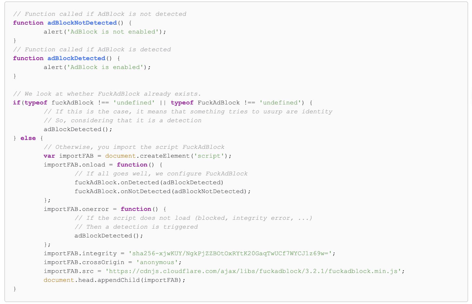 Example implementation of F**kAdBlock anti adblocking script