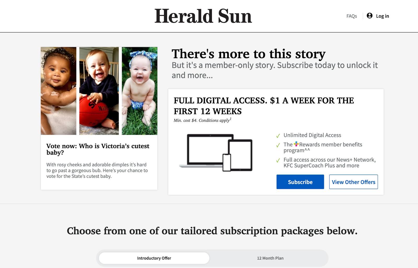 Paywall Interstitial Ad Example